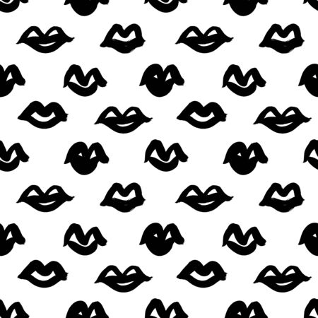 Black paint lips vector seamless pattern. Abstract girl's and woman's mouth. Grunge brush stroke texture. Monochrome wallpaper design, trendy textile print. Hand drawn ink illustration of lips.
