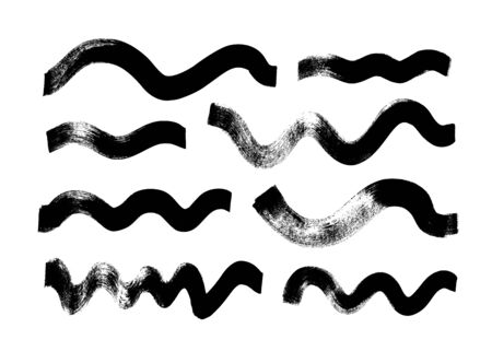 Black paint wavy brush strokes vector collection. Dirty curved lines and wavy brushstrokes. Ink illustration isolated on white background. Modern grunge brush lines. Calligraphy smears, stamps, lines.  Illustration