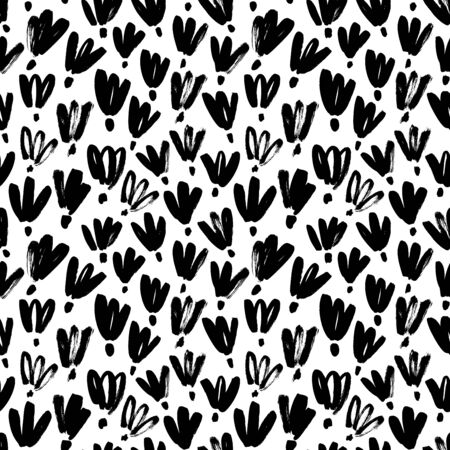 Brush black loose flowers vector seamless pattern. Hand drawn black paint ink illustration with abstract floral motif. Hand drawn painting for your fabric, wrapping paper, wallpaper design