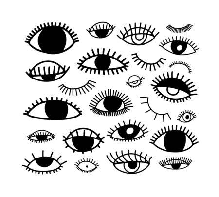 Eyes vector icon set in doodle line style. Ink illustration isolated on white. Set of hand drawn open, closed and sleeping eye shapes with lashes. Modern outline style icons collection.