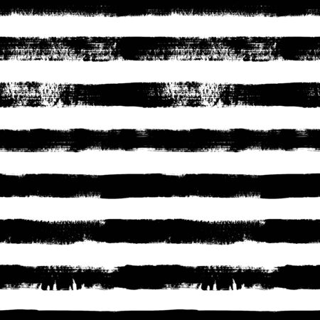 Grunge lines vector seamless pattern. Horizontal brush strokes, straight stripes or lines. Black ink striped hand drawn background. Geometric ornament for wrapping paper. Dry brushstrokes pattern. Vetores