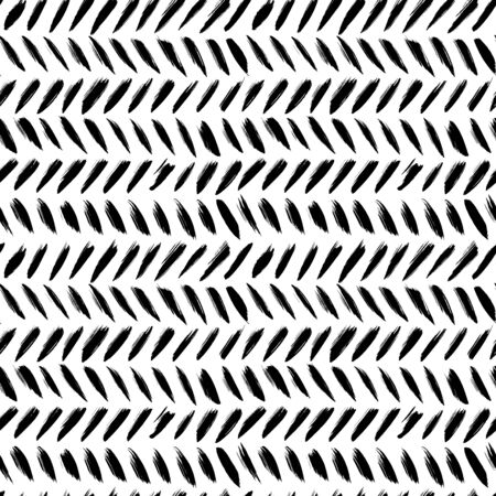 Herringbone brush strokes vector seamless pattern. Chevron texture or wallpaper. Grunge doodle geometric pattern, hand drawn tribal vector background. Graphic brush strokes zig zag ink illustration.