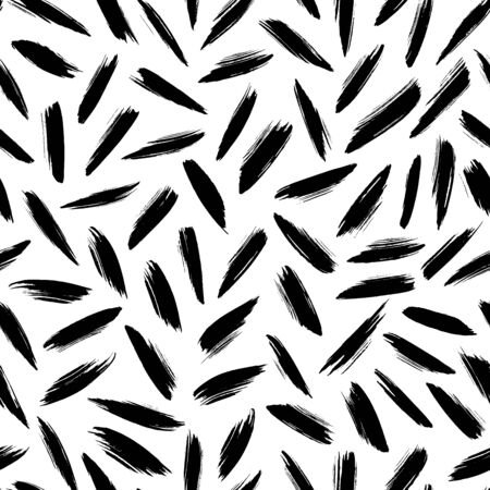 Brush strokes vector seamless pattern. Black paint freehand scribbles, straight lines, dry brush stroke texture. Chaotic rough smear. Black and white mosaic texture. Hand drawn grunge ink illustration