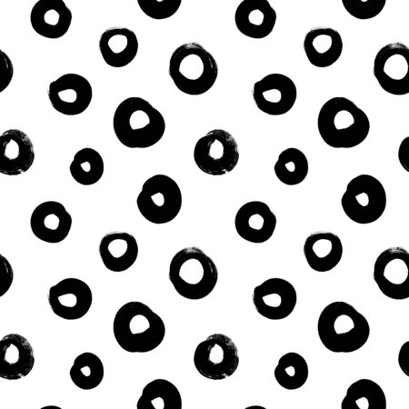 Circle grunge seamless vector pattern. Brush strokes, polka dot, rounded outline shapes. Hand drawn abstract ink background. Smears, circles, splotches, blobs. Abstract wallpaper design, textile print