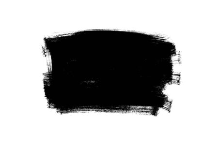 Vector black paint, ink brush stroke, rectangular shape. Dirty grunge design element, rectangle or background for text. Grungy black smear or rough stain. Hand drawn ink illustration isolated on white Ilustração