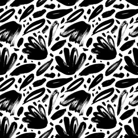 Brush black loose leaves and flowers vector seamless pattern. Hand drawn black paint ink illustration with abstract floral motif. Hand drawn painting for your fabric, wrapping paper, wallpaper design