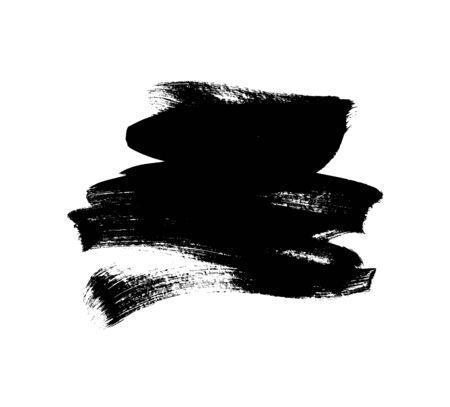 Black paint vector brush stroke isolated on white background. Vector ink illustration, dry dirty smear. Grunge paint brushstroke, box, frame, banner, design element for text. Modern textured shape.