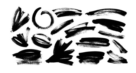 Vector black paint, ink brush strokes and lines. Dirty grunge design element, box or background for text. Grungy black smears and rough stains, lines. Hand drawn ink illustration isolated on white