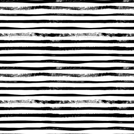 Grunge lines vector seamless pattern. Horizontal brush strokes, straight stripes or lines. Black ink striped hand drawn background. Geometric ornament for wrapping paper. Dry brushstrokes pattern.