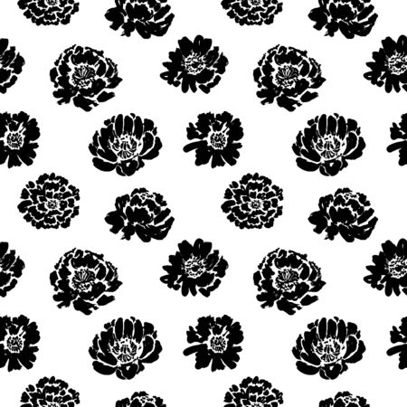 Seamless floral vector pattern with peonies, roses, anemones. Hand drawn black paint illustration with abstract flowers. Graphic hand drawn brush stroke botanical pattern. Buds and blossoms.