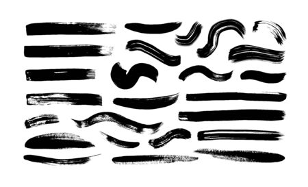 Black paint wavy and straight brush strokes vector collection. Dirty curved lines and wavy brushstrokes. Ink illustration isolated on white background. Modern grunge brush lines. Calligraphy smears.