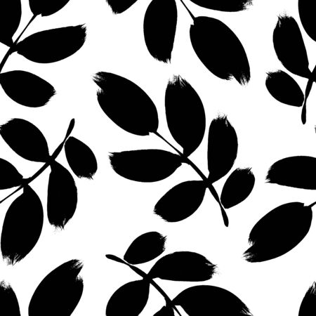 Plant twigs with leaves black paint vector seamless pattern. Hand drawn foliage branch silhouettes isolated on white background. Monochrome botanical design elements with dry brush stroke effect