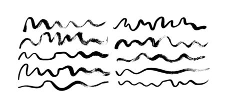 Black paint wavy brush strokes vector collection. Dirty curved lines and wavy brushstrokes. Ink illustration isolated on white background. Grunge smears collection with wavy, doodle, freehand lines.