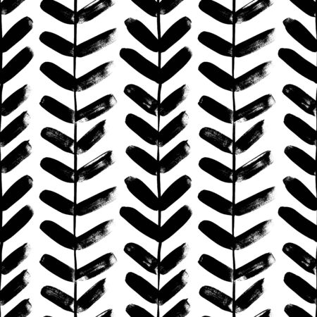 Vertical plant with leaves black paint seamless pattern. Hand drawn foliage branch silhouette, liana, chevron texture, herringbone. Grunge tribal. Monochrome botanical design