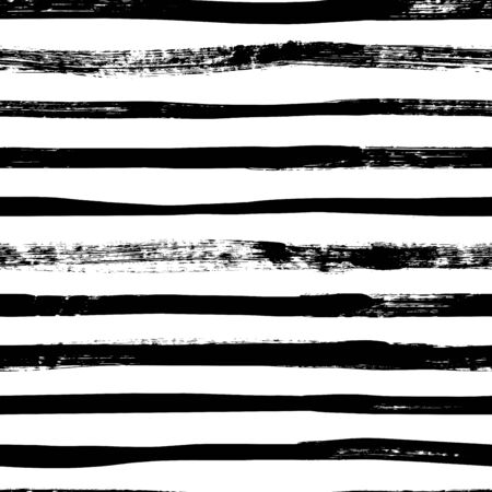 Grunge lines  pattern. Horizontal brush strokes, straight stripes or lines. Black ink striped hand drawn background. Geometric ornament for wrapping paper. Dry brushstrokes pattern. Ilustração