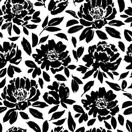 Seamless floral pattern with peonies, roses, anemones. Hand drawn black paint illustration with abstract flowers. Graphic hand drawn brush stroke botanical pattern. Leaves and blooms.