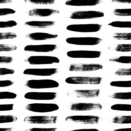 Grunge dash lines  pattern. Horizontal brush strokes, straight stripes or lines. Black ink striped hand drawn background. Geometric ornament for wrapping paper. Dry brushstrokes pattern