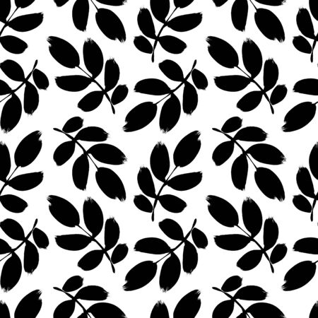 Plant twigs with leaves black paint  pattern. Hand drawn foliage branch silhouettes isolated on white background. Monochrome botanical design elements with dry brush stroke effect