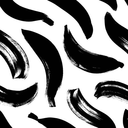 Banana brush strokes  pattern. Wavy and curved lines. Black paint freehand scribbles, abstract ink background. Abstract monochrome wallpaper design, trendy textile print.