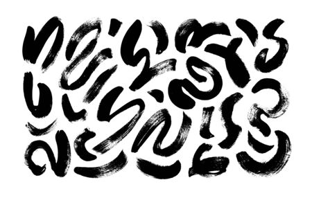 Black paint wavy and swirled brush strokes vector collection. Curved lines and wavy brushstrokes. Ink illustration isolated on white background. Modern grunge brush lines. Calligraphy smears, stamps.