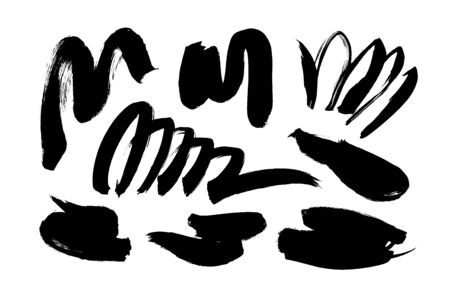 Black paint wavy brush strokes vector collection. Dirty curved lines and wavy brushstrokes. Ink illustration isolated on white background. Modern grunge brush lines. Calligraphy smears, stamps. Illustration