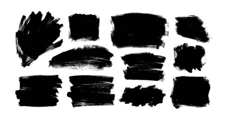 black paint, ink brush strokes and shapes. Dirty grunge design element, rectangles or background for text. Grungy black smears and rough stains. Hand drawn ink illustration isolated on white. Ilustração