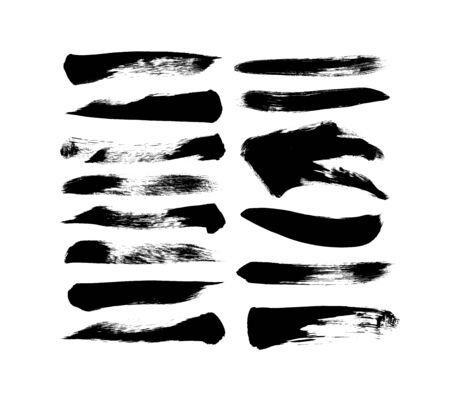Vector grungy paint brush strokes collection. Calligraphy straight smears, stamp, lines. Hand drawn ink illustration isolated on white background. Vector black paint, ink brush stroke, line or texture Ilustração