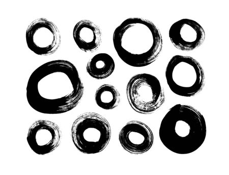 Vector circle black paint brush strokes collection. Calligraphy round smears, stamp, lines. Hand drawn ink illustration isolated on white background. Vector ink brush stroke, line and texture Ilustração