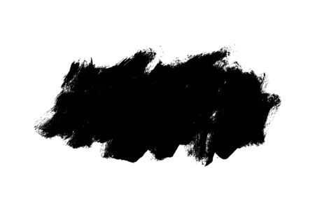 Vector black paint, ink brush stroke, rectangular shape. Dirty grunge design element, rectangle or background for text. Grungy black smear or rough stain. Hand drawn ink illustration isolated on white