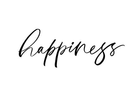 Happiness word vector lettering. Brush calligraphy Vetores