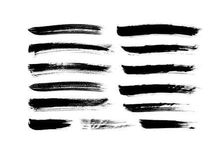 Vector grungy paint brush strokes collection.