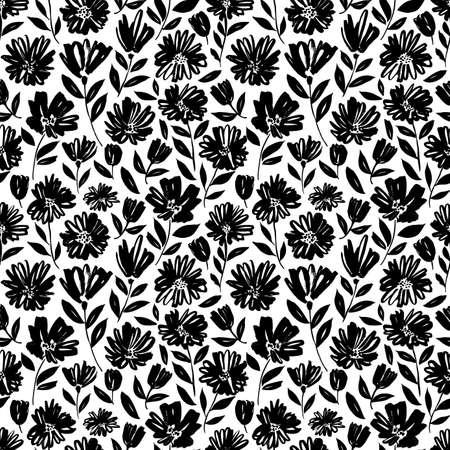 Brush flower vector seamless pattern. Ilustração Vetorial