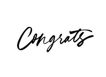 Congrats hand drawn brush lettering.