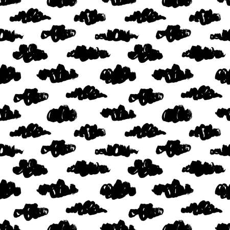 Black clouds vector seamless pattern.