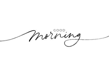 Good morning hand drawn vector lettering phrase.