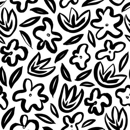 Hand drawn simple abstract flower seamless pattern Illusztráció