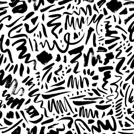 Doodle shapes and lines vector seamless pattern.