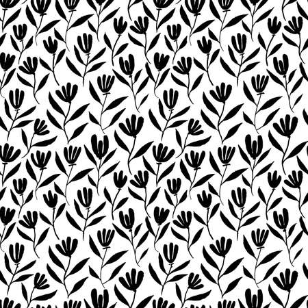 Hand drawn brush flower vector seamless pattern.