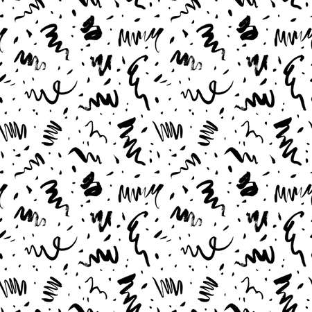 Doodle lines and dots vector seamless pattern.