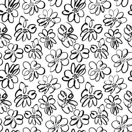 Hand drawn brush black flowers seamless pattern.