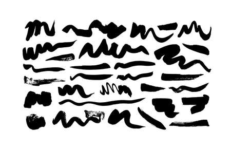 Black paint wavy brush strokes vector collection.
