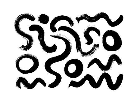 Hand drawn black brush strokes vector collection.