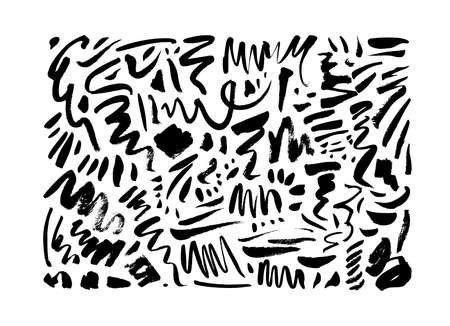 Doodle wavy brush strokes hand drawn collection. Illusztráció