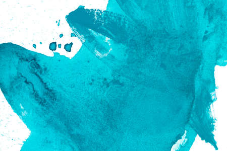 Blue splash watercolor texture background. Hand drawn turquoise abstract paint smudges.