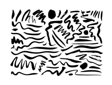 Inky doodle wavy brush strokes vector collection.