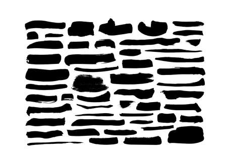 Vector grungy black paint brush strokes collection
