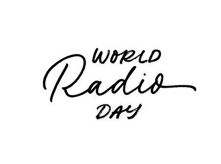 World Radio day hand drawn vector lettering.