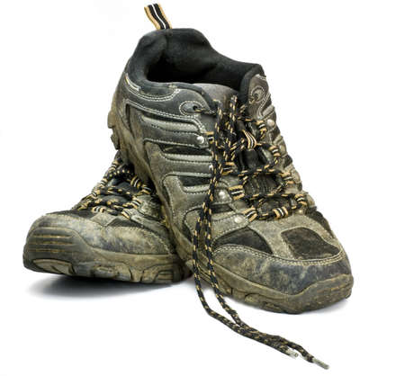 dirty work shoes on white background Stock Photo - 10019660