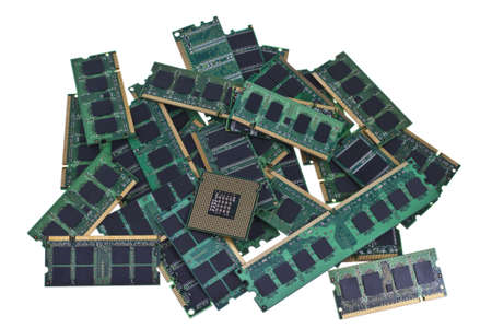 Many different computer memory modules an an cpu.