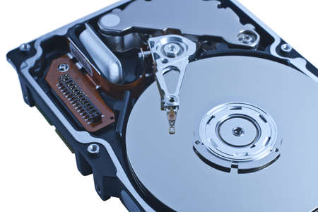 alto rendimiento: disco duro del servidor de disco abierto en primer plano. De rendimiento del disco duro de alta